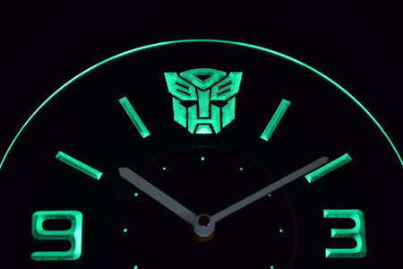 Transformers Autobots Icon Modern LED Neon Wall Clock - Green - SafeSpecial
