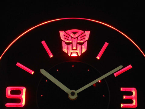 Image of Transformers Autobots Icon Modern LED Neon Wall Clock - Red - SafeSpecial