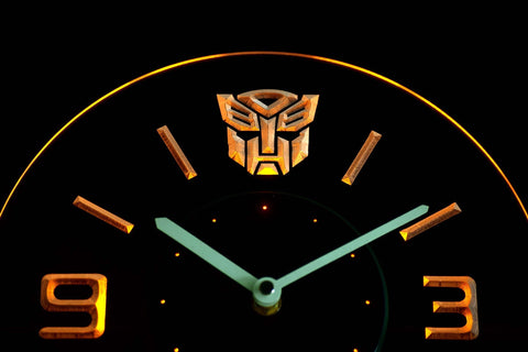 Image of Transformers Autobots Icon Modern LED Neon Wall Clock - Yellow - SafeSpecial