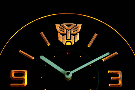 Transformers Autobots Icon Modern LED Neon Wall Clock - Yellow - SafeSpecial