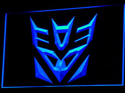 Transformers Decepticons Icon LED Neon Sign - Blue - SafeSpecial
