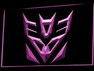 Transformers Decepticons Icon LED Neon Sign - Purple - SafeSpecial