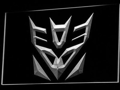 Transformers Decepticons Icon LED Neon Sign - White - SafeSpecial