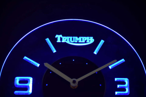 Image of Triumph Old Logo Modern LED Neon Wall Clock - Blue - SafeSpecial