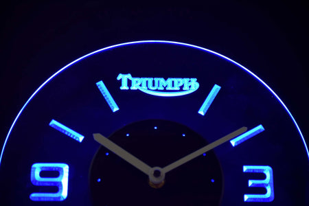 Triumph Old Logo Modern LED Neon Wall Clock - Blue - SafeSpecial