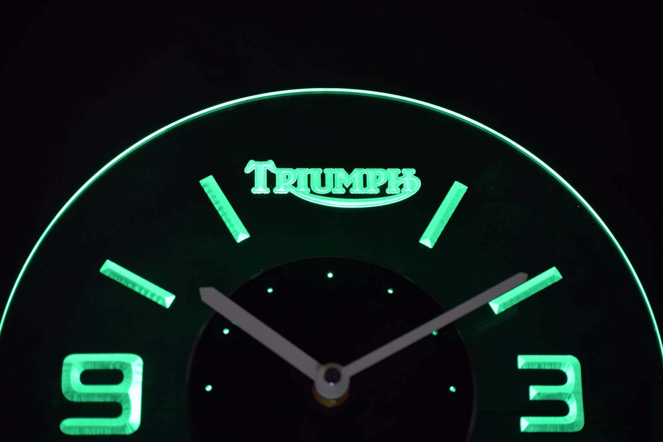 Triumph Old Logo Modern Led Neon Wall Clock Safespecial
