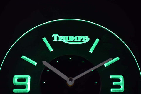 Image of Triumph Old Logo Modern LED Neon Wall Clock - Green - SafeSpecial