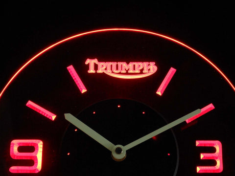 Triumph Old Logo Modern LED Neon Wall Clock - Red - SafeSpecial