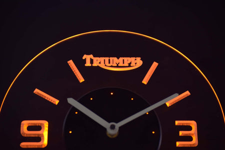 Triumph Old Logo Modern LED Neon Wall Clock - Yellow - SafeSpecial