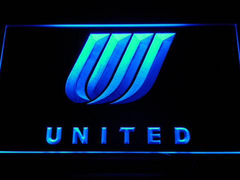 Image of United Airlines Tulip Logo LED Neon Sign - Blue - SafeSpecial