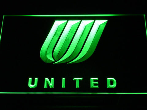 Image of United Airlines Tulip Logo LED Neon Sign - Green - SafeSpecial