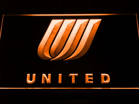 Image of United Airlines Tulip Logo LED Neon Sign - Orange - SafeSpecial