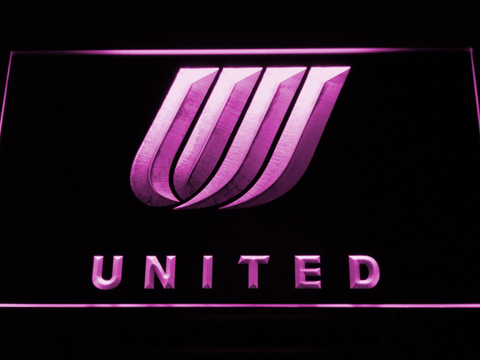 Image of United Airlines Tulip Logo LED Neon Sign - Purple - SafeSpecial