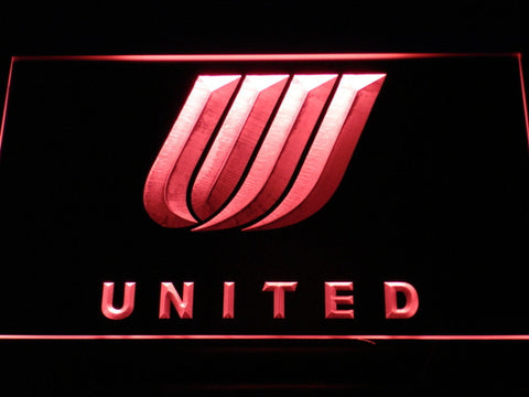 Image of United Airlines Tulip Logo LED Neon Sign - Red - SafeSpecial