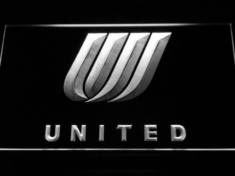 Image of United Airlines Tulip Logo LED Neon Sign - White - SafeSpecial