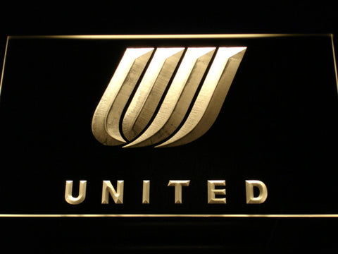 Image of United Airlines Tulip Logo LED Neon Sign - Yellow - SafeSpecial