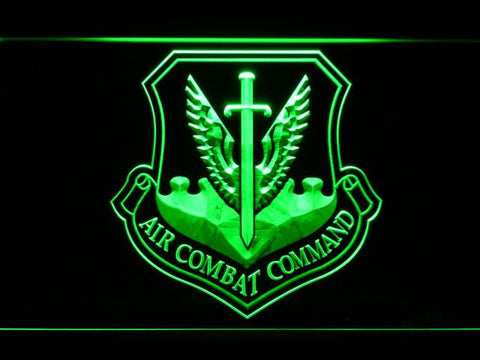 Image of US Air Force Air Combat Command LED Neon Sign - Green - SafeSpecial