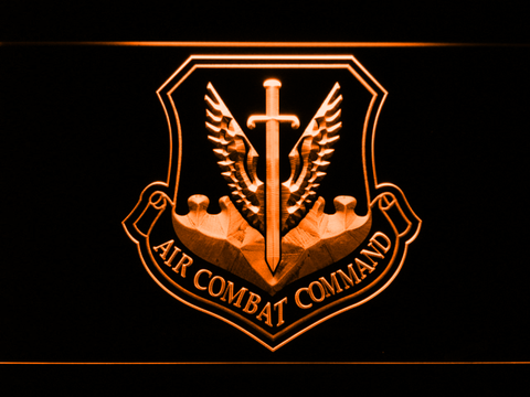 Image of US Air Force Air Combat Command LED Neon Sign - Orange - SafeSpecial