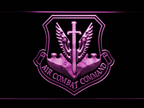 Image of US Air Force Air Combat Command LED Neon Sign - Purple - SafeSpecial