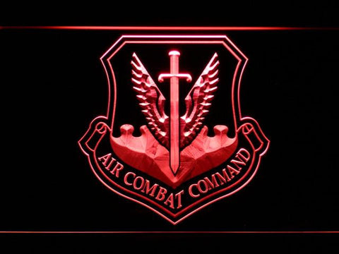 Image of US Air Force Air Combat Command LED Neon Sign - Red - SafeSpecial