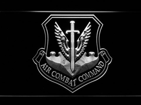 Image of US Air Force Air Combat Command LED Neon Sign - White - SafeSpecial