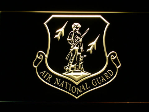 US Air Force Air National Guard Emblem LED Neon Sign - Yellow - SafeSpecial