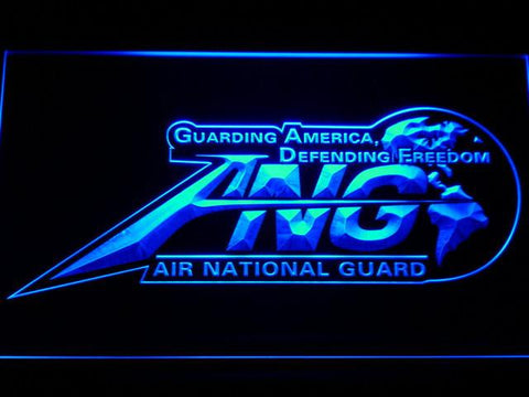 Image of US Air Force Air National Guard Initials LED Neon Sign - Blue - SafeSpecial