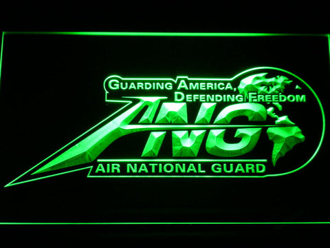 Image of US Air Force Air National Guard Initials LED Neon Sign - Green - SafeSpecial