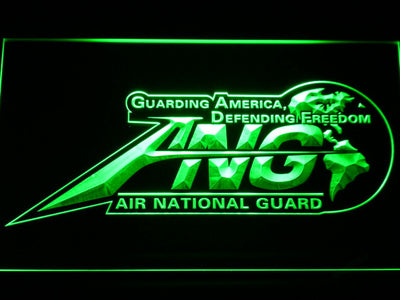 US Air Force Air National Guard Initials LED Neon Sign - Green - SafeSpecial