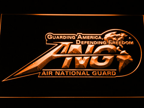 Image of US Air Force Air National Guard Initials LED Neon Sign - Orange - SafeSpecial