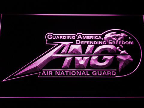 Image of US Air Force Air National Guard Initials LED Neon Sign - Purple - SafeSpecial