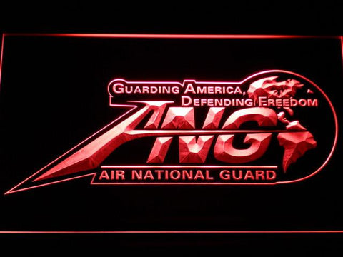 Image of US Air Force Air National Guard Initials LED Neon Sign - Red - SafeSpecial
