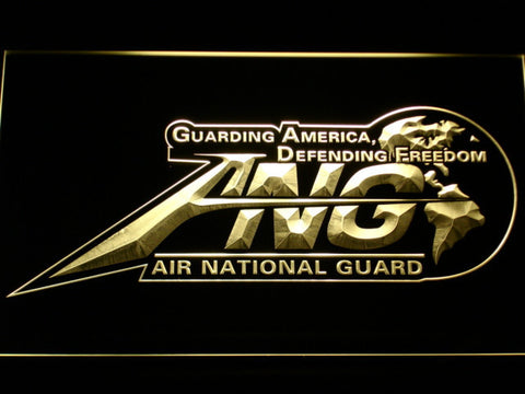 Image of US Air Force Air National Guard Initials LED Neon Sign - Yellow - SafeSpecial