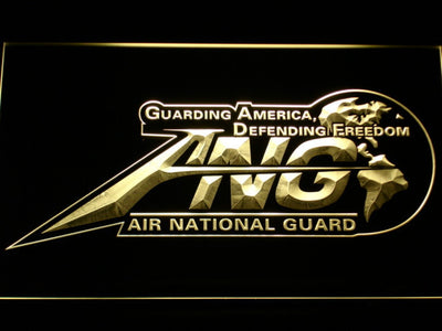 US Air Force Air National Guard Initials LED Neon Sign - Yellow - SafeSpecial