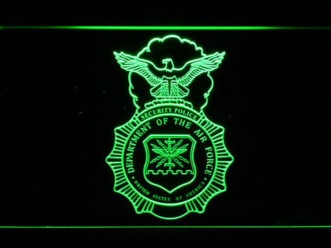 Image of US Air Force Security Forces LED Neon Sign - Green - SafeSpecial