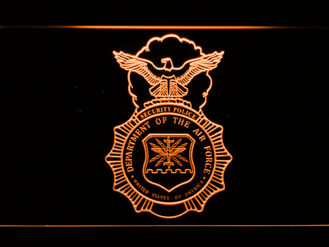 Image of US Air Force Security Forces LED Neon Sign - Orange - SafeSpecial