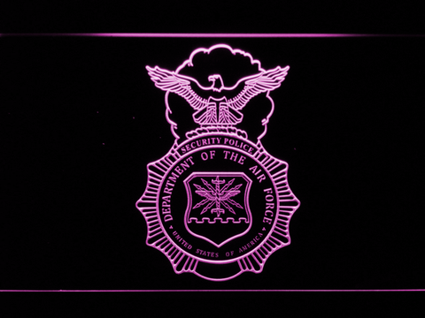 Image of US Air Force Security Forces LED Neon Sign - Purple - SafeSpecial
