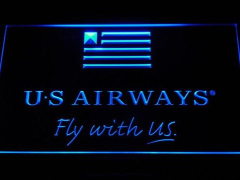US Airways Fly With US LED Neon Sign - Blue - SafeSpecial