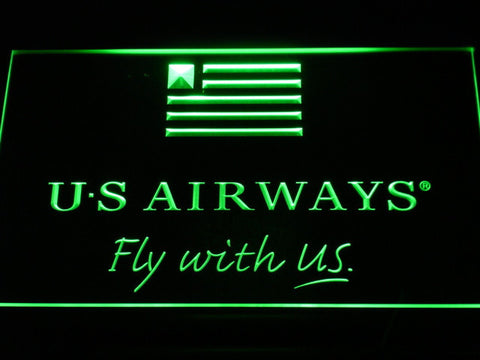 Image of US Airways Fly With US LED Neon Sign - Green - SafeSpecial