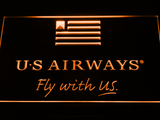 US Airways Fly With US LED Neon Sign - Orange - SafeSpecial
