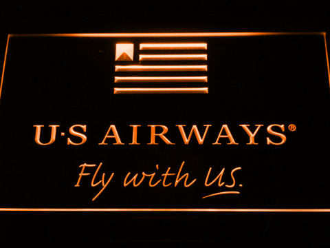 Image of US Airways Fly With US LED Neon Sign - Orange - SafeSpecial