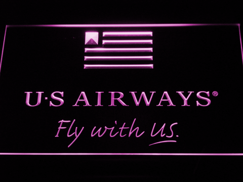 US Airways Fly With US LED Neon Sign - Purple - SafeSpecial