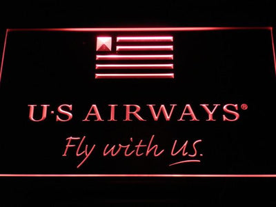 US Airways Fly With US LED Neon Sign - Red - SafeSpecial
