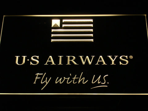 US Airways Fly With US LED Neon Sign - Yellow - SafeSpecial