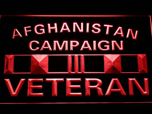 US Armed Forces Afghanistan Campaign Veteran LED Neon Sign - Red - SafeSpecial