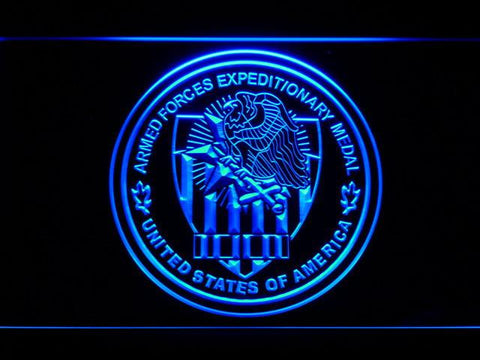 Image of US Armed Forces Expeditionary Medal LED Neon Sign - Blue - SafeSpecial