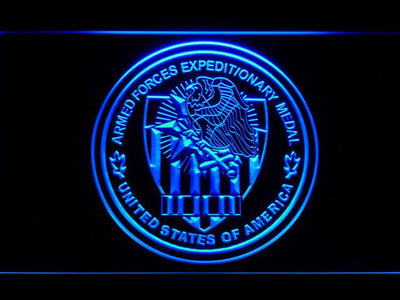 US Armed Forces Expeditionary Medal LED Neon Sign - Blue - SafeSpecial