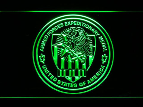 Image of US Armed Forces Expeditionary Medal LED Neon Sign - Green - SafeSpecial