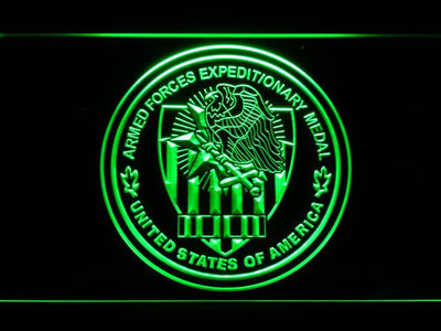 US Armed Forces Expeditionary Medal LED Neon Sign - Green - SafeSpecial