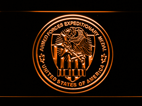 Image of US Armed Forces Expeditionary Medal LED Neon Sign - Orange - SafeSpecial